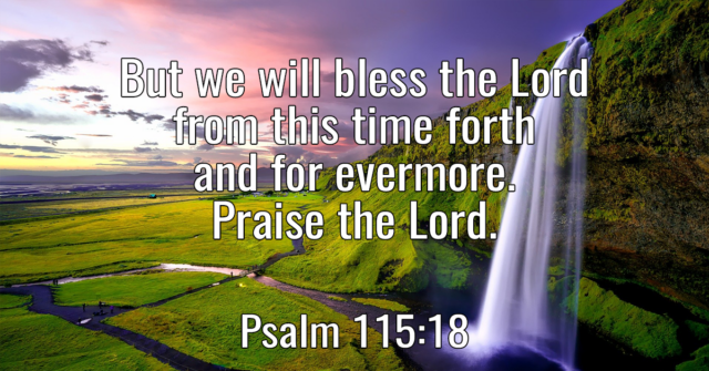 But we will bless the Lord from this time forth and for evermore. Praise the Lord