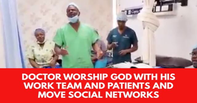 Doctor worship God with his work team and patients and move social networks