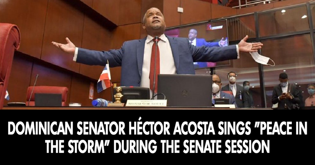 Dominican senator Héctor Acosta sings Peace in the Midst of the Storm during the senate session